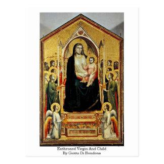 Virgen y niño Enthroned de Giotto Di Bondone Tarjetas Postales
