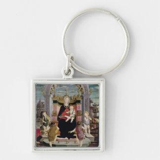 Virgen y niño Enthroned Llavero Cuadrado Plateado
