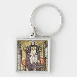 Virgen y niño llavero cuadrado plateado