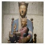Virgen y niño, (madera policroma) azulejo cuadrado grande