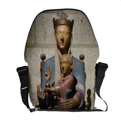 Virgen y niño, (madera policroma) bolsa messenger