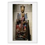 Virgen y niño, (madera policroma) tarjeta de felicitación
