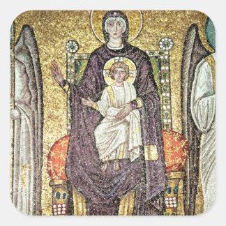 Virgen y niño calcomanías cuadradas personalizadas