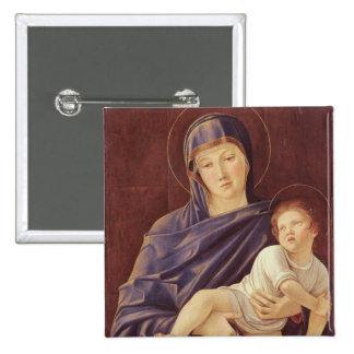 Virgen y niño pin cuadrada 5 cm