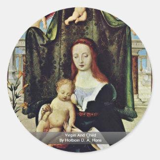 Virgen y niño por Holbein D. Ä. Hans Etiqueta Redonda
