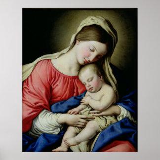Virgen y niño póster