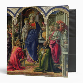 """Virgen y niño rodeados por ángeles carpeta 1 1/2"""""""