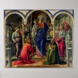 Virgen y niño rodeados por ángeles póster
