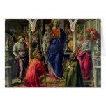 Virgen y niño rodeados por ángeles tarjeta de felicitación