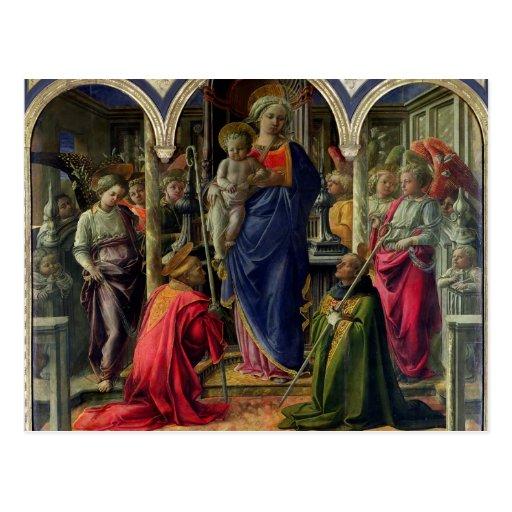 Virgen y niño rodeados por ángeles tarjeta postal