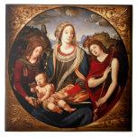 Virgen y niño tejas  cerámicas