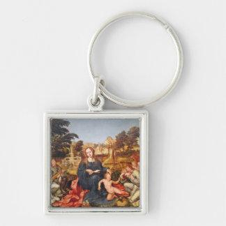 Virgen y niño y ángeles, 1536-38 llavero cuadrado plateado