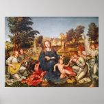 Virgen y niño y ángeles, 1536-38 póster