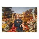 Virgen y niño y ángeles, 1536-38 tarjeta de felicitación