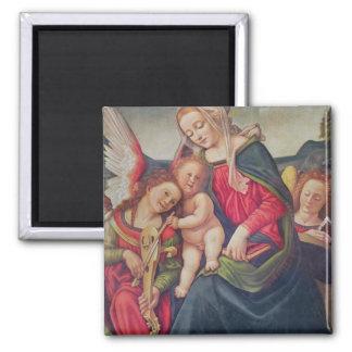 Virgen y niño y músicos del ángel imán cuadrado
