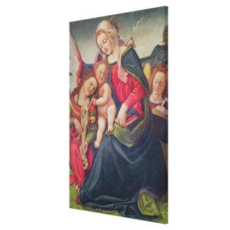 Virgen y niño y músicos del ángel lona envuelta para galerías