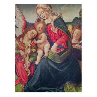 Virgen y niño y músicos del ángel postales