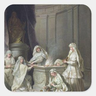 Vírgenes de vestal, 1727 calcomanías cuadradas personalizadas