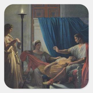 Virgil que lee el Aeneid Pegatina Cuadrada