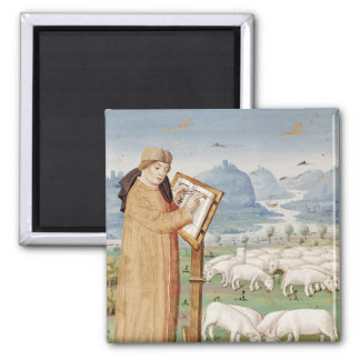 Virgil Writing in a Field of Sheep and Goats 2 Inch Square Magnet