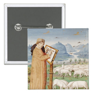 Virgil Writing in a Field of Sheep and Goats 2 Inch Square Button