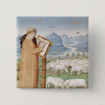 Virgil Writing in a Field of Sheep and Goats Pinback Button