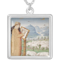 Virgil Writing in a Field of Sheep and Goats Silver Plated Necklace