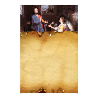 VIRGIN AND ANNUNCIATION ANGEL ,Parchment Stationery