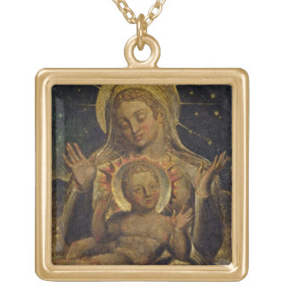 Virgin and Child, 1825 (tempera on panel) Square Pendant Necklace