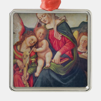 Virgin and Child and angel musicians Metal Ornament