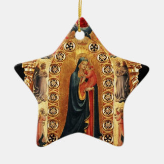 VIRGIN AND CHILD, ANGELS GOLD SACRED ART Red Ruby Ceramic Ornament