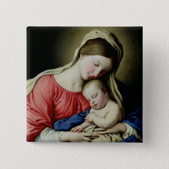 Virgin and Child Button