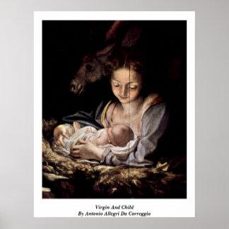 Virgin And Child By Antonio Allegri Da Correggio Poster