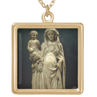 Virgin and Child, c.1375 (alabaster) Gold Plated Necklace