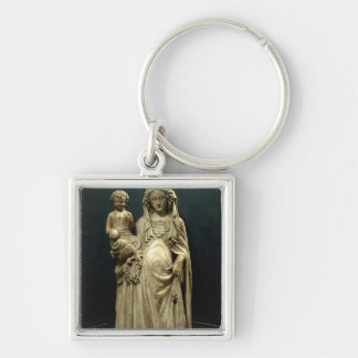 Virgin and Child, c.1375 (alabaster) Silver-Colored Square Keychain