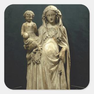 Virgin and Child, c.1375 (alabaster) Square Sticker