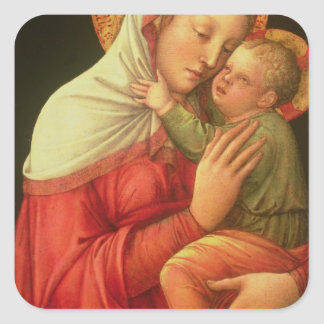 Virgin and Child, c.1465 (oil on panel) Square Sticker