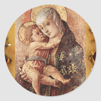 VIRGIN AND CHILD CHRISTMAS PARCHMENT CLASSIC ROUND STICKER