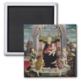 Virgin and Child Enthroned 2 Inch Square Magnet