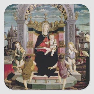 Virgin and Child Enthroned Square Sticker