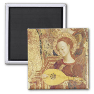 Virgin and Child Enthroned with six angels 2 Inch Square Magnet