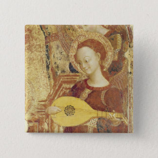 Virgin and Child Enthroned with six angels Pinback Button
