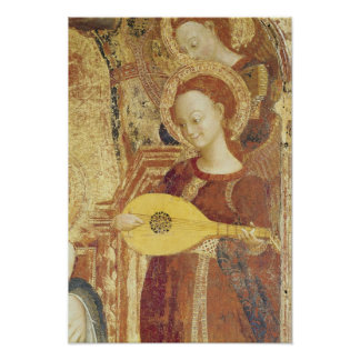 Virgin and Child Enthroned with six angels Poster