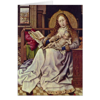 Virgin And Child In An Interior By Robert Campin Greeting Cards