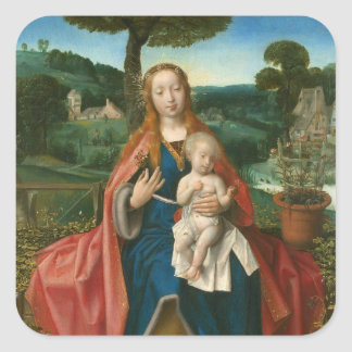Virgin and Child in Landscape Provoost Fine Art Square Sticker