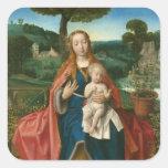 Virgin and Child in Landscape Vintage Fine Art Square Sticker