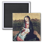 Virgin and Child in the Small Garden 2 Inch Square Magnet