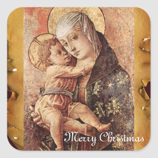 VIRGIN AND CHILD MERRY CHRISTMAS PARCHMENT SQUARE STICKER