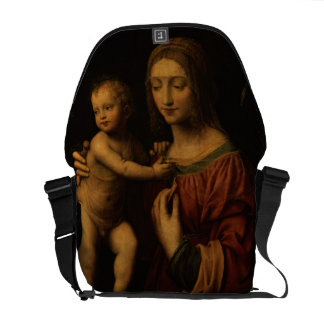 Virgin and Child (oil on panel) 2 Courier Bag