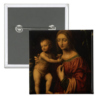 Virgin and Child (oil on panel) 2 Pinback Button